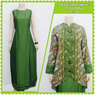 model baju batik muslim gamis hijau