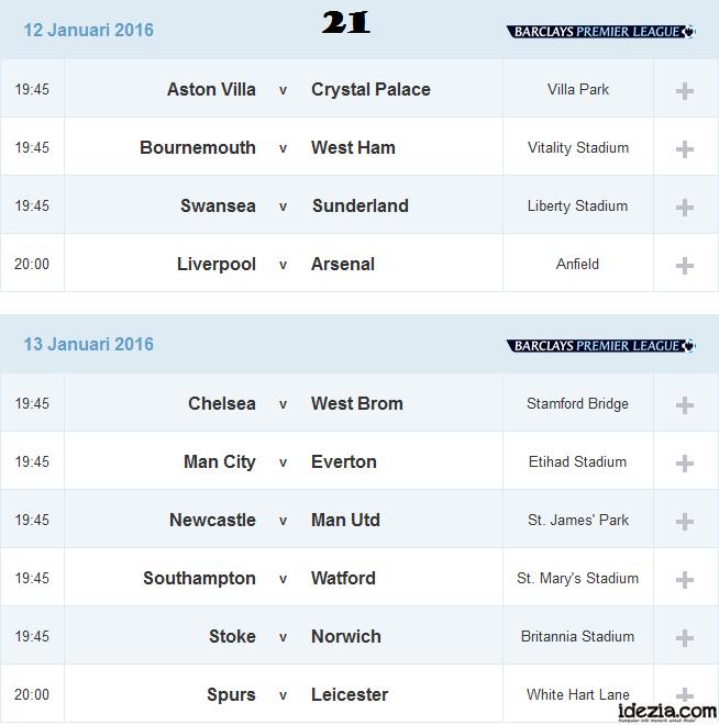 Jadwal Liga Inggris Pekan ke-21 12 13 Januari 2016