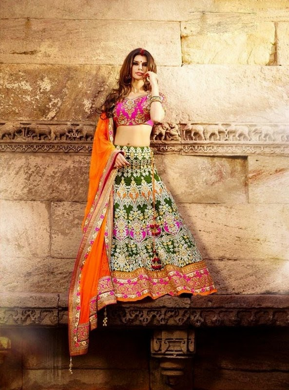 Green Art Silk Lehenga With Orange Net Dupatta & Pink Art Silk Choli