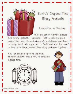 http://www.teacherspayteachers.com/Product/Santas-Elapsed-Time-Presents-Task-Cards-171965