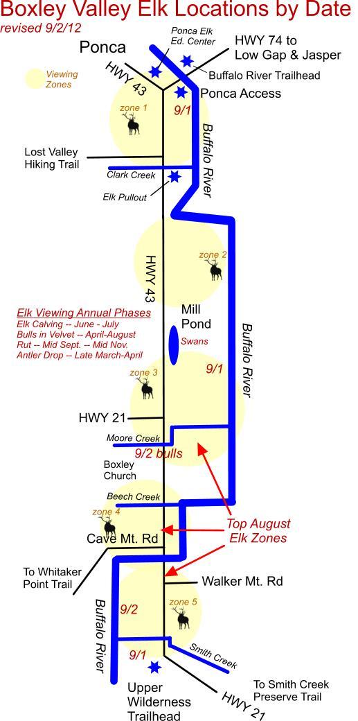 Elk Herd Map Boxley Valley, near Ponca