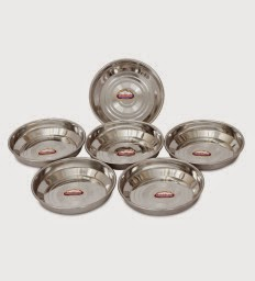 Buy Shubham Designer Steel Plates Dishes 6 Pc Set 11 Cm Small at Rs.139 : Buy To Earn