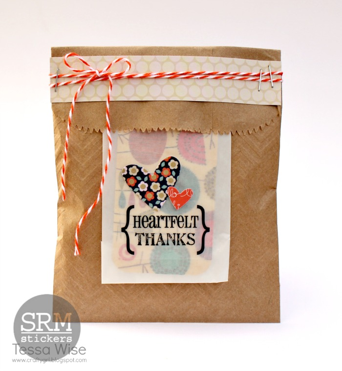 SRM Stickers Blog - Heartfelt Thanks Gift Card Bag by Tessa - #embossed #kraft #bag #twine #stickers #thanks #gift card