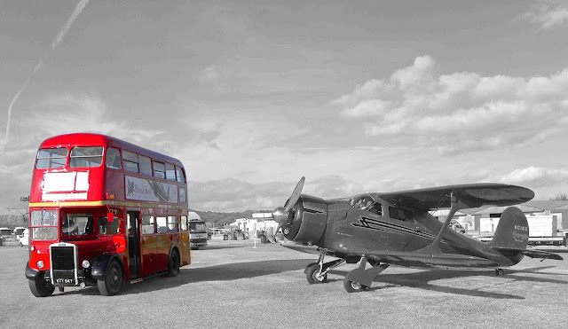 Old London bus black and white photography with color