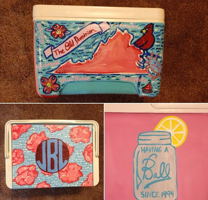 pink and blue painted cooler
