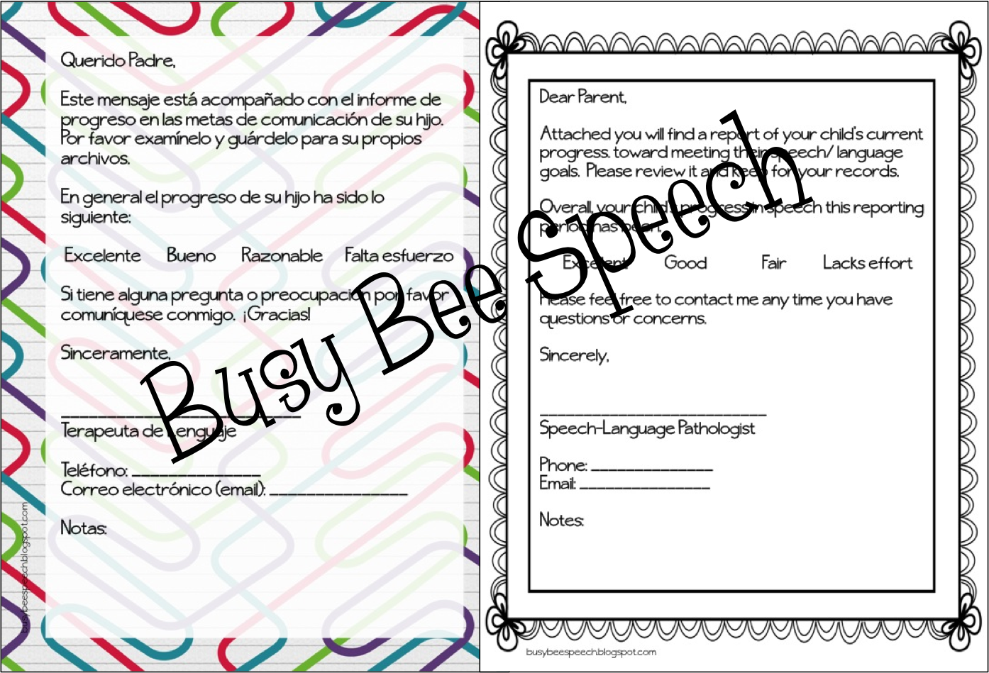 busy bee speech  parent letters for speech therapy in english  u0026 spanish