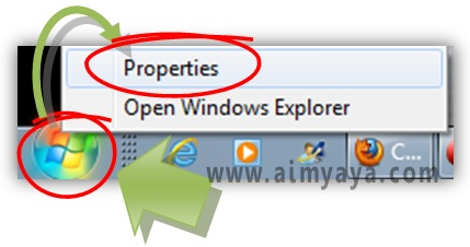 Gambar: Mengakses properties Start Menu Windows 7