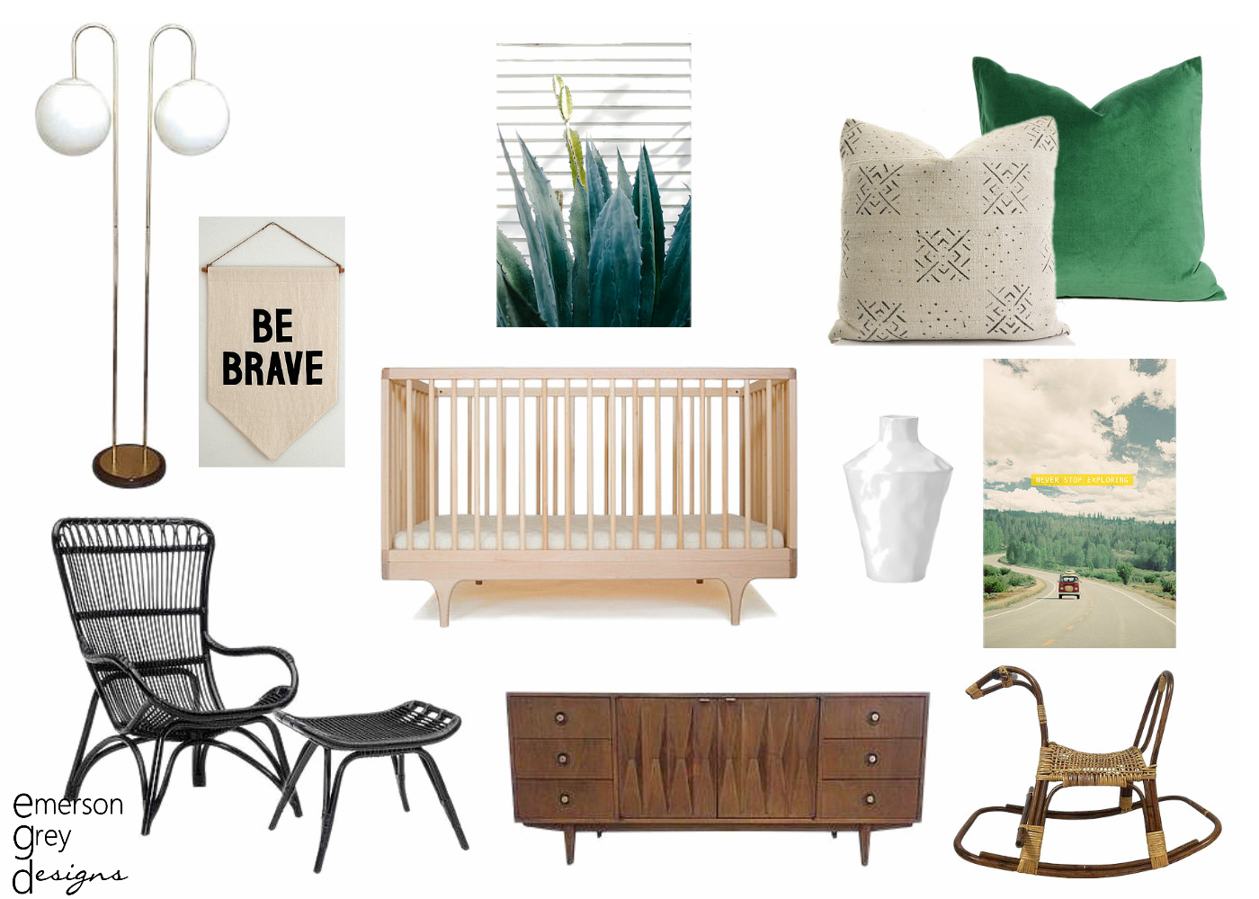 Chairish a mid century modern nursery for Modern nursery images