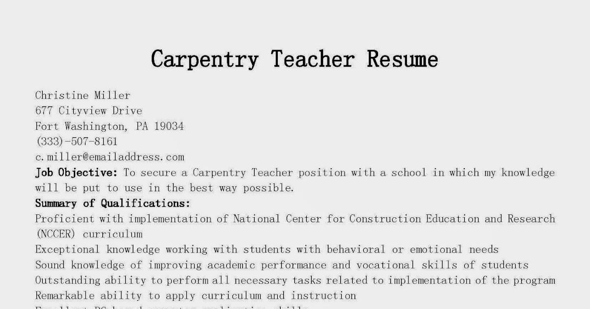 resume samples  carpentry teacher resume sample