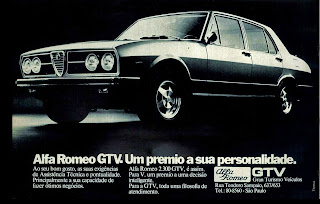 propaganda Alfa Romeo GTV - 1975. brazilian advertising cars in the 70. os anos 70. história da década de 70; Brazil in the 70s; propaganda carros anos 70; Oswaldo Hernandez;