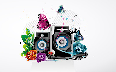 Music Sound Designs With Colorful Butterfly and Rose Wallpaper
