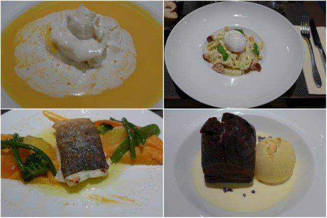 Crema de calabaza, Ensalada de col, Bacalao con puré de batata y Volcán de chocolate en el Restaurante Le Marcab en Paris