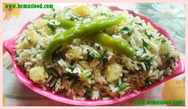 Potato Spinach Fried Rice