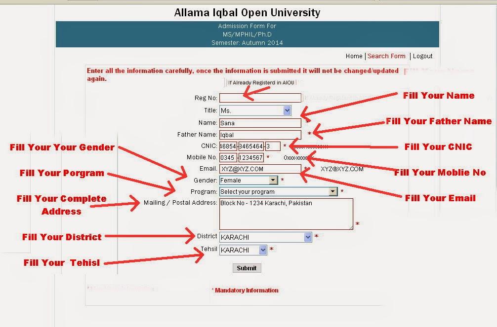 How To Fiil Admissions Form 2014 Allama Iqbal Open University ...