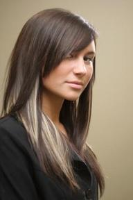 Brown Hair with Blonde Peek A Boo Highlights