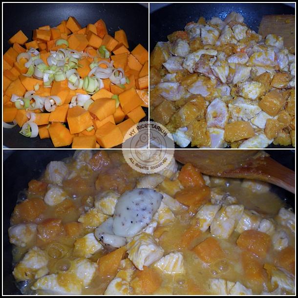 Bocconcini di pollo con zucca