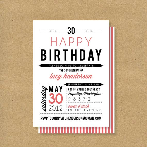 adult or child birthday invitation via henandco