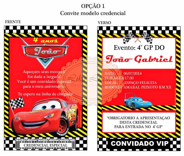 convite personalizados carros disney