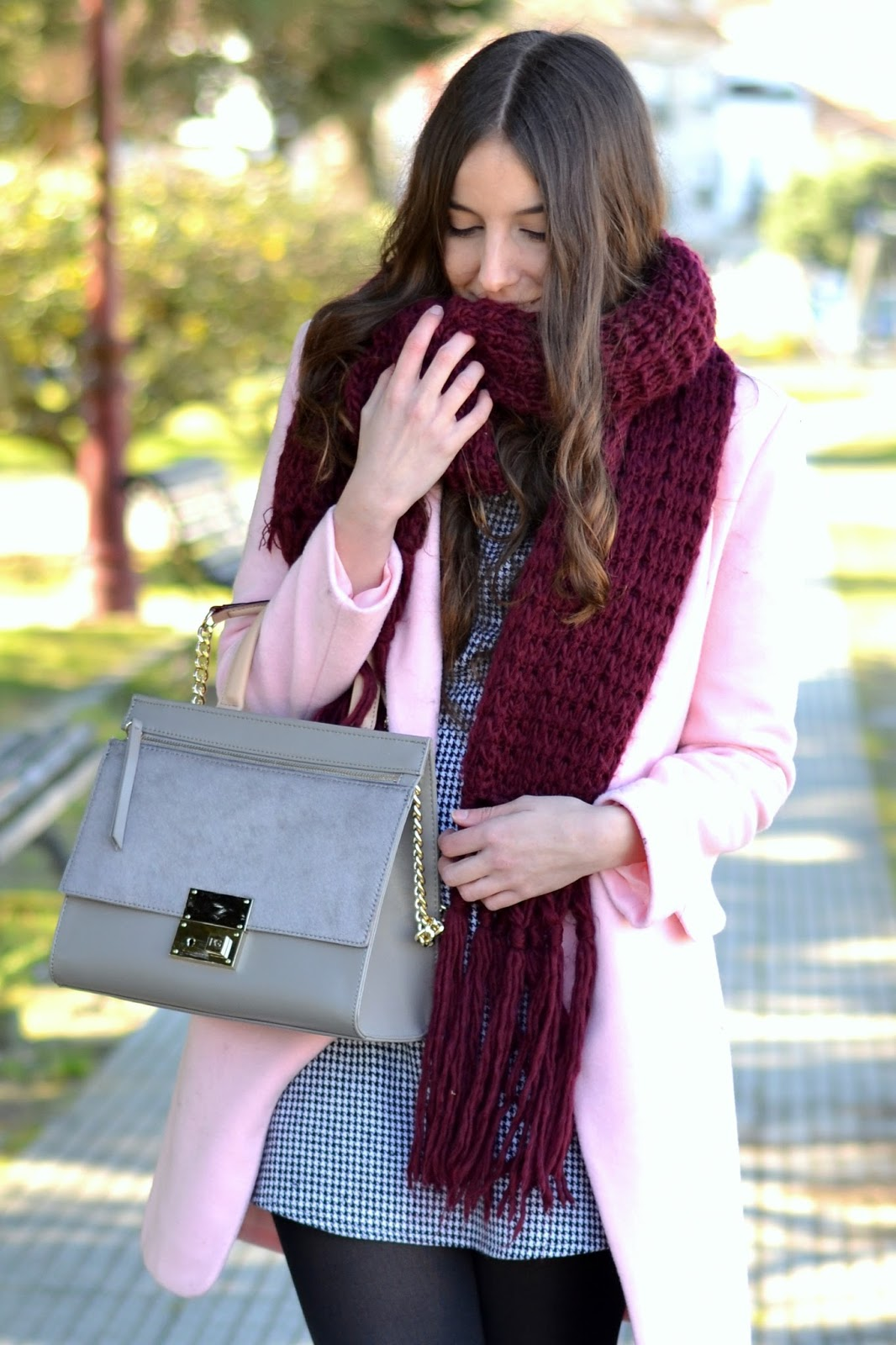 pink coat, burgundy scarf