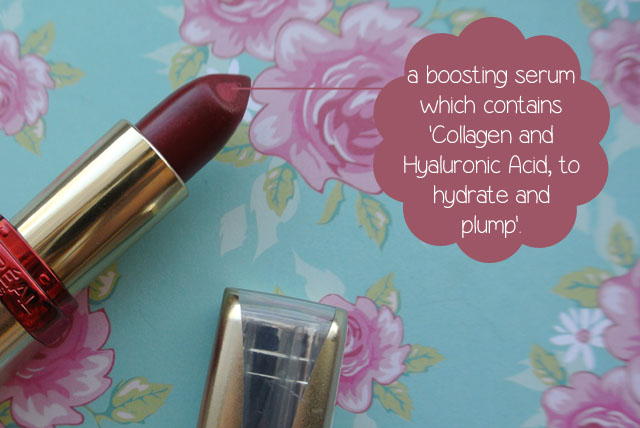 l'oreal boosting serum bright burgundy lipstick swatch review