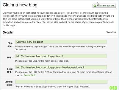 Claim a new blog