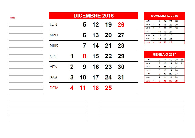 Calendario mensile 2016 - dicembre