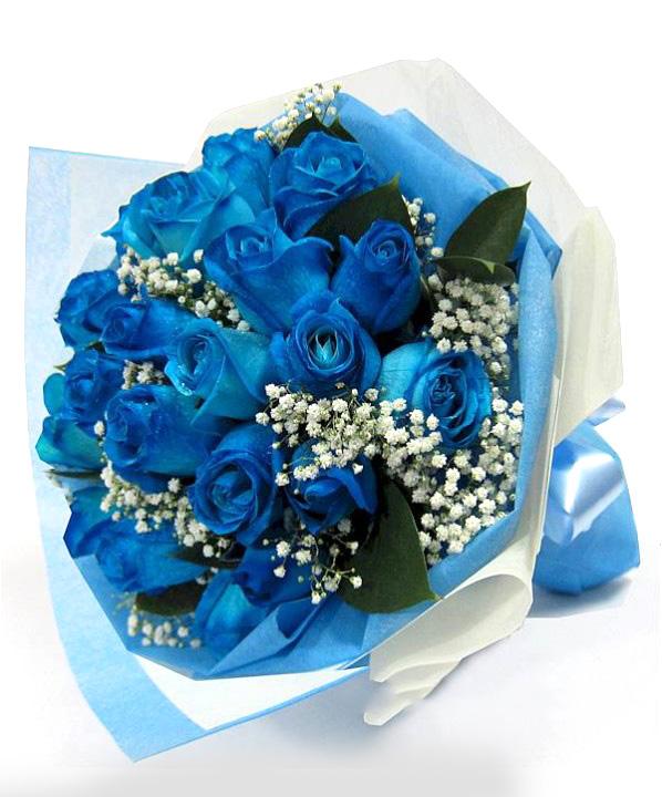 Image result for hand bouquet mawar biru