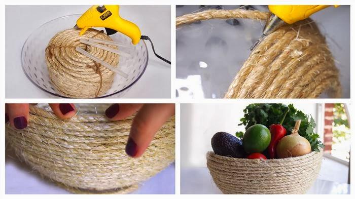 Bonito tazon adornado con cuerda manualidades para for Como decorar el hogar
