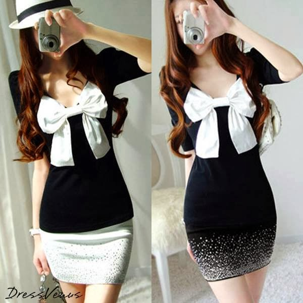 Cute New Style Shining Rhinestone Short Sleeve Dress