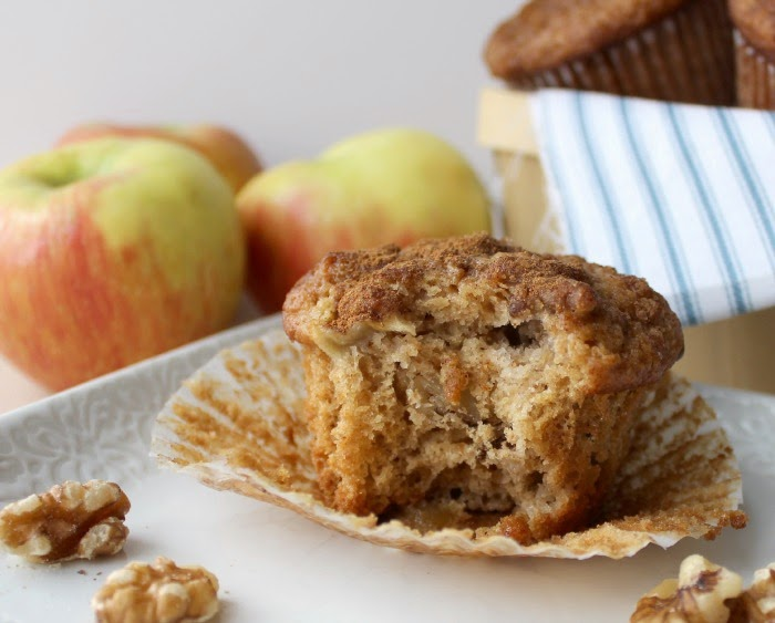 Renee's Kitchen Adventures:  Lightened Up Apple Pie Muffins A lighter version with all the flavor of the original.  #muffin #apple