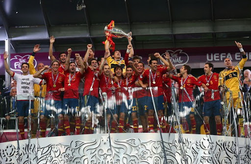 Spain captain Iker Casillas lifts the trophy after winning the European Championship