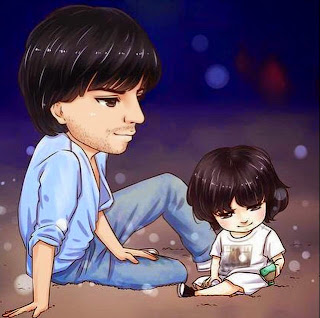 Sketch of Shahrukh Khan playing with youngest son Abram