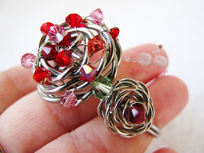 Wire Wrap Adjustable Rose Cuff by Wirebliss - with Swarovski Crystal