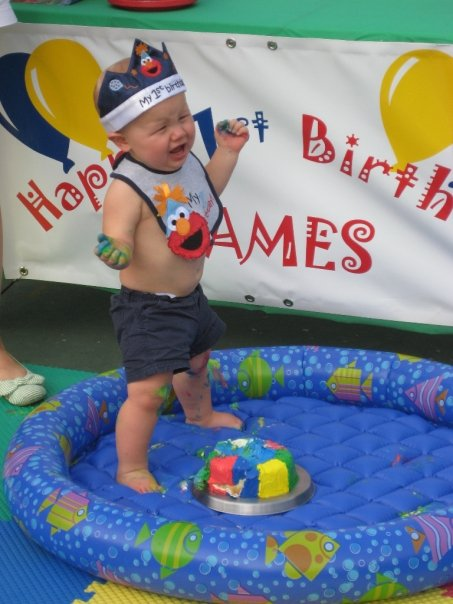 Kidspired creations cake ideas for boy birthdays for a pool party pool shaped cake easy peasy and for easy clean up just stick your kid and hisher smash cake inside of a kiddie pool sciox Choice Image