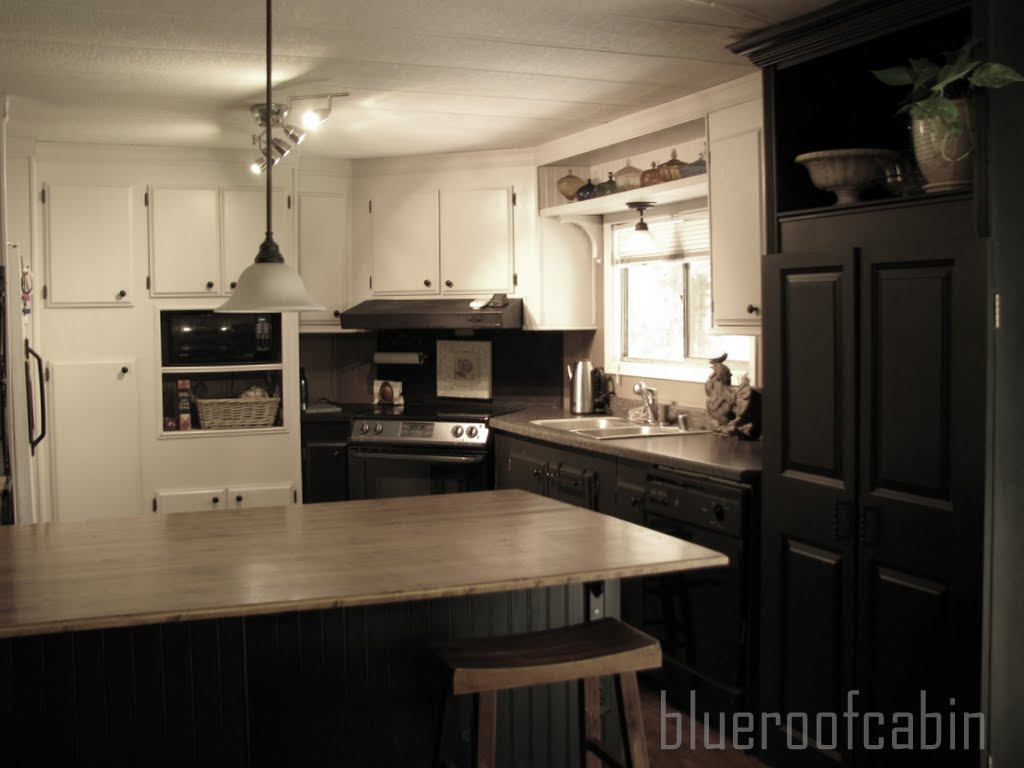 Blue roof cabin my sisters kitchen is finished Mobile home kitchen remodel pictures