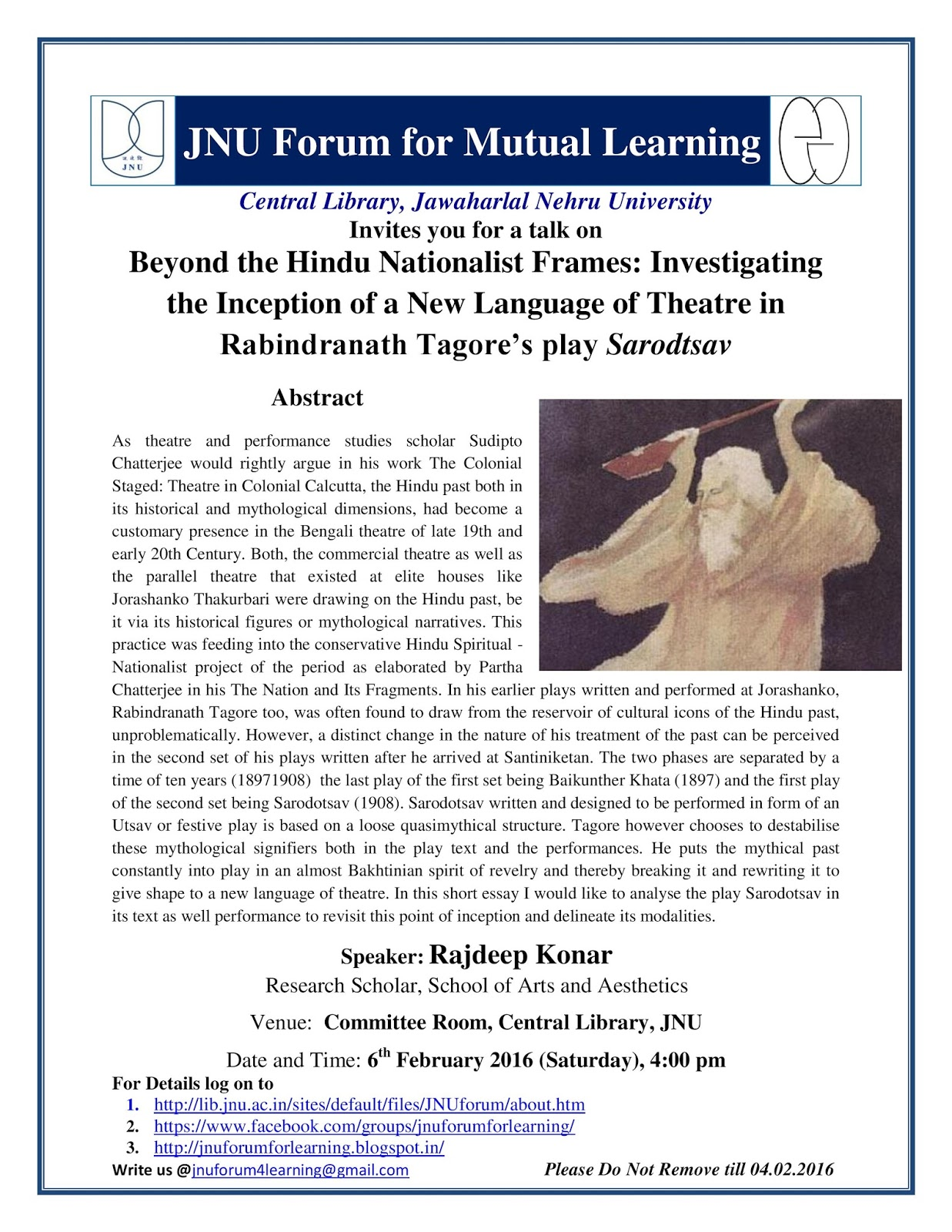 jnu forum for mutual learning th feb page jpg new language of theatre in this short essay i would like to analyse the play sarodotsav in its text as well performance to re this point of