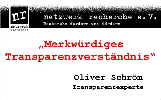 Oliver Schröm, Stern, Merkwürdiges Transparenzverständnis