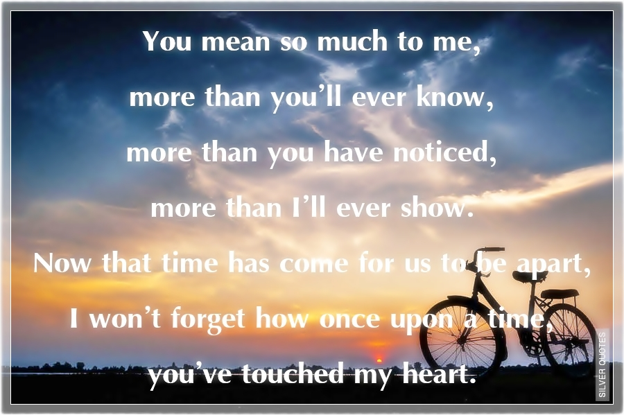 You Mean So Much To Me Quotes | You Mean So Much To Me More Than You Ll Ever Know Silver Quotes