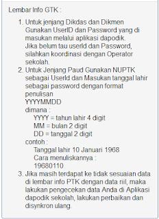 Cek Lembar Info GTK