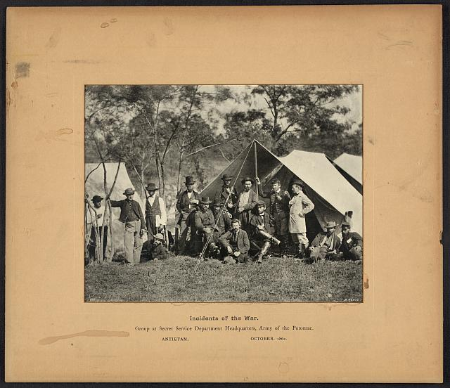 Incidents of the war, group at Secret Service Department Headquarters, Army of Potomac, Antietam