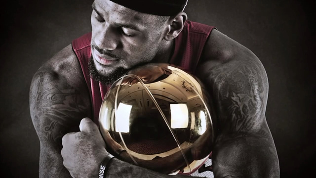 Lebron James Holding the NBA Title