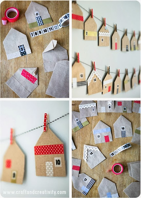 Calendário de natal feito de tecido