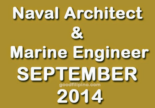 September 2014 Top 10 Naval Architect and Marine Engineer Board Exam Passers