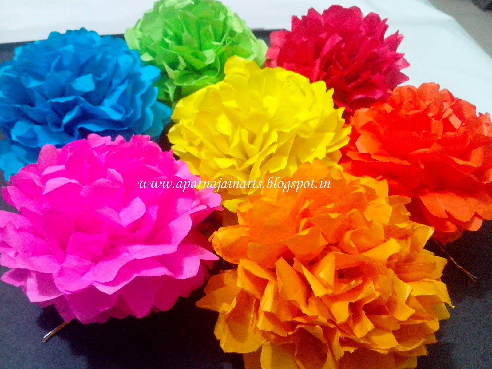 The Crafty World Pankh Arts Pom Pom Tissuekite Paper Flowers