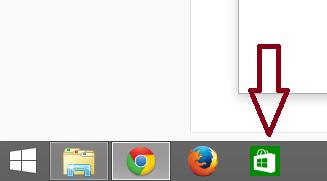 Tampilan Taskbar menampilkan store dan app lainnya
