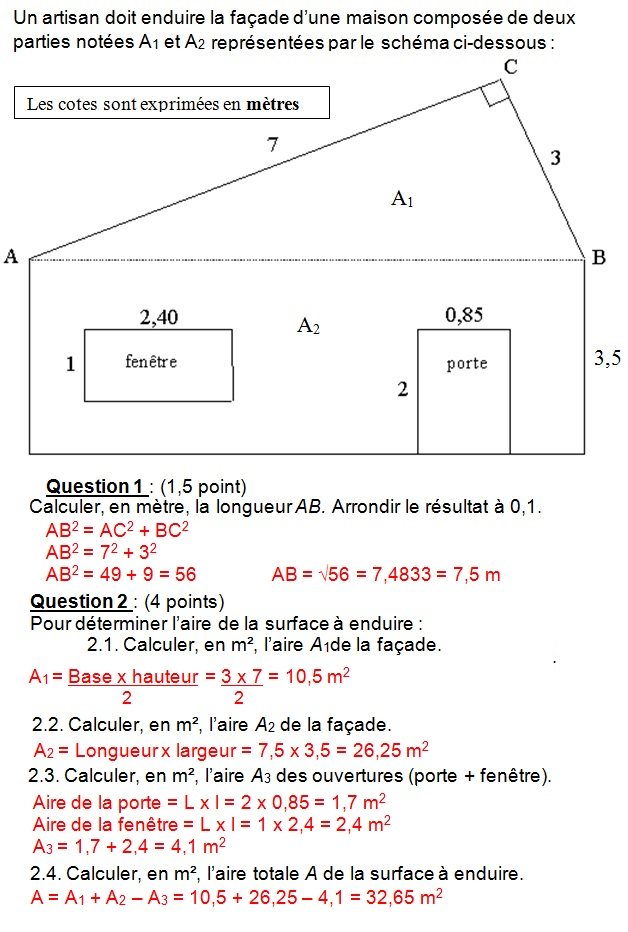 Calculer Une Aire Duune Figure Usuelle Calculer Une Longueur Dans Un  Triangle Rectangle Corrig With Calcul Surface Facade Maison With Calcul  Surface Facade ...
