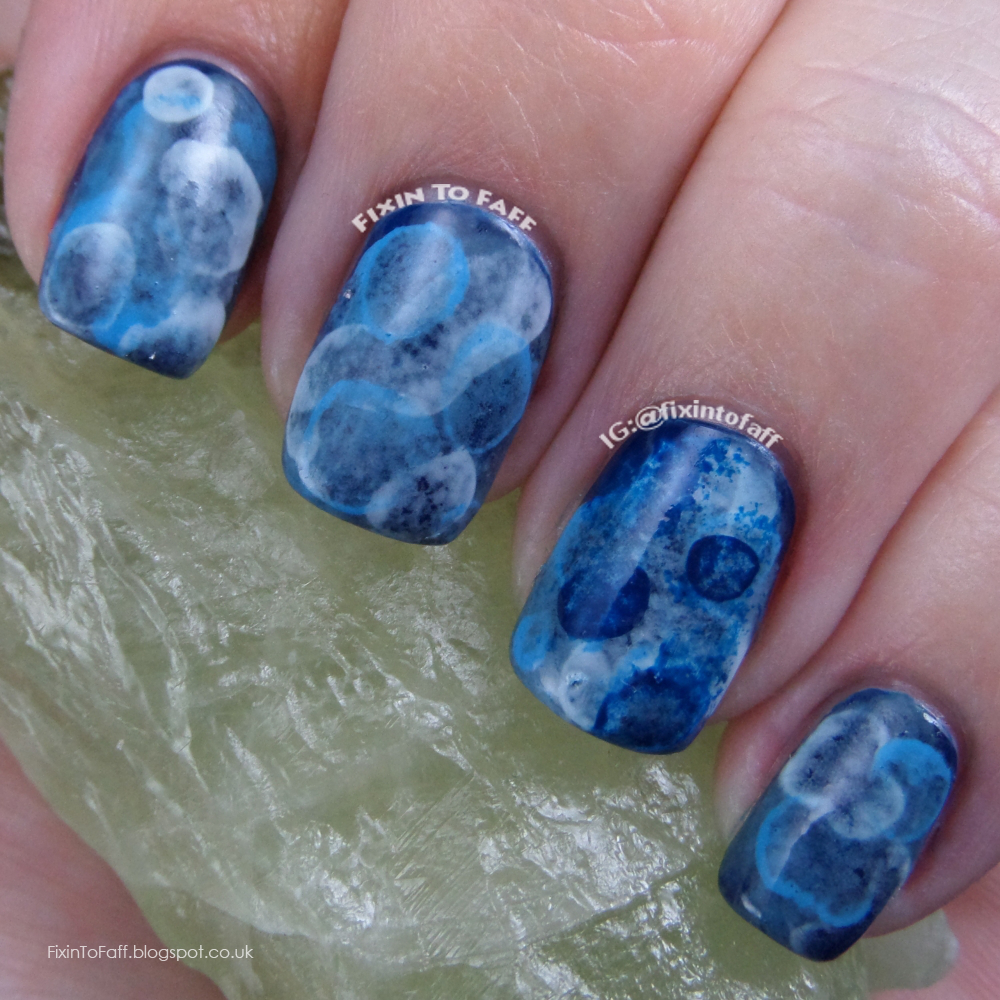 Blue tranquility aquatic watercolor sponged jellyfish nail art for the 31dc.