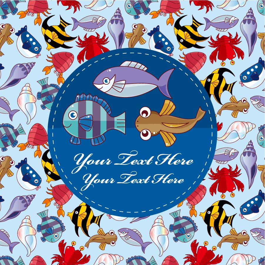 沢山の魚や貝を並べた背景 lot of cartoon fish background イラスト素材