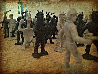 Galaxy Team Space Heroes & Monsters are cousins to Little Green Army Men, both recently reissued and made in the USA.