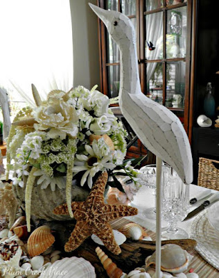 Seashell and white rose Centerpiece